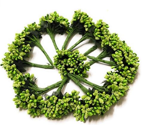 288pcs (24bunchx12pollen), green pollen for jewellery making, tiara making (1bunch=12 pollen)