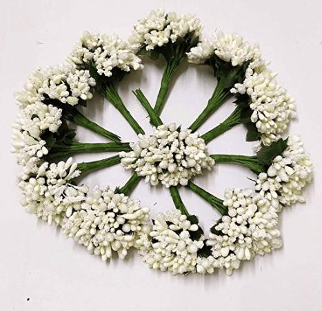 288pcs (24bunchx12pollen), white pollen for jewellery making, tiara making (1bunch=12 pollen)
