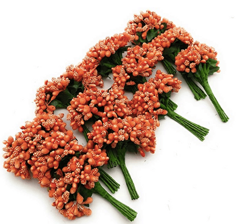288pcs (24bunchx12pollen), orange pollen for jewellery making, tiara making (1bunch=12 pollen)
