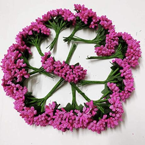 288pcs (24bunchx12pollen), dark pink pollen for jewellery making, tiara making (1bunch=12 pollen)