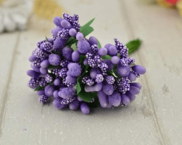 288pcs (24bunchx12pollen), purple pollen for jewellery making, tiara making (1bunch=12 pollen)
