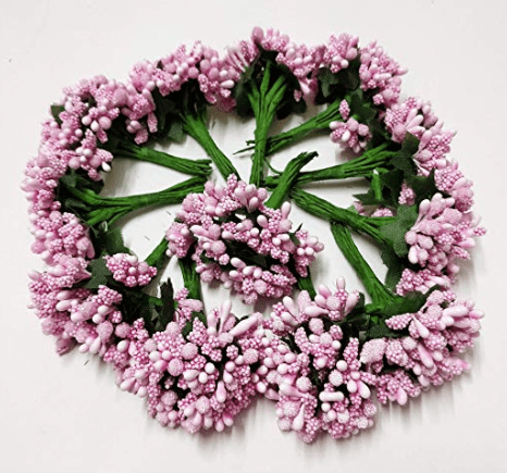 288pcs (24bunchx12pollen), baby pink pollen for jewellery making, tiara making (1bunch=12 pollen)