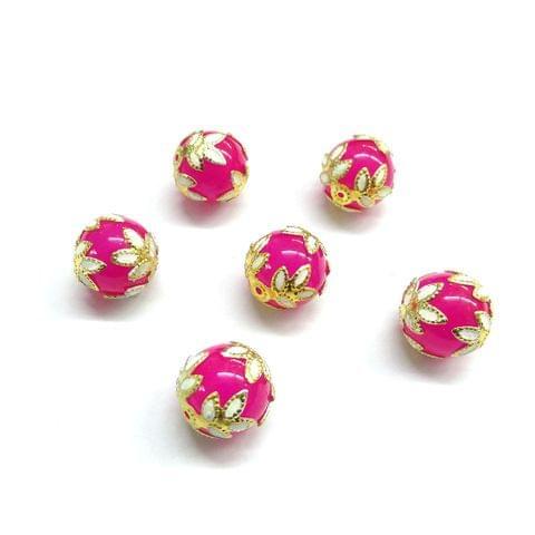 20 pcs, 12mm Designer Pink Round Balls For Jewelry Making