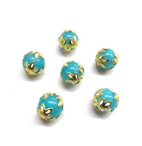 20 pcs, 12mm Designer Blue Round Balls For Jewelry Making
