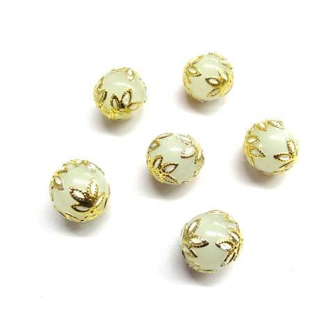 20 pcs, 12mm Designer White Grey Round Balls For Jewelry Making