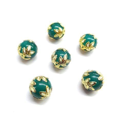 20 pcs, 12mm Designer Sea Blue Round Balls For Jewelry Making