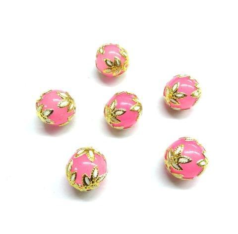 20 pcs, 12mm Designer Light Pink Round Balls For Jewelry Making