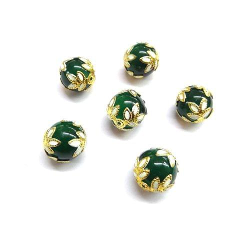 20 pcs, 12mm Designer Sea Green Round Balls For Jewelry Making