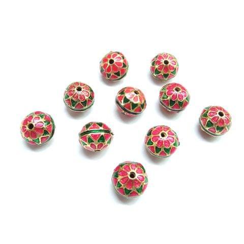 10 pcs, 10mm Pink Green High Quality Meena Ball