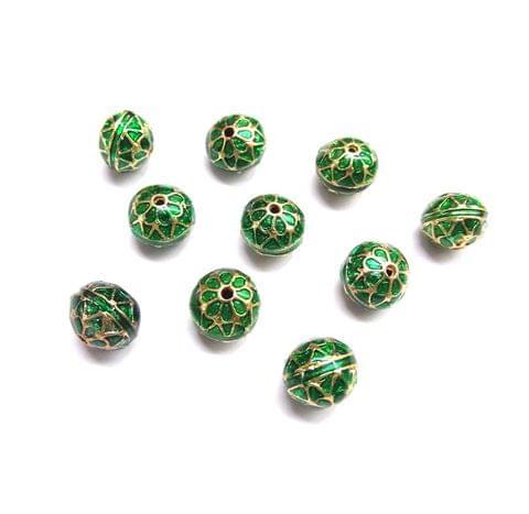 10 pcs, 10mm Green High Quality Meena Ball