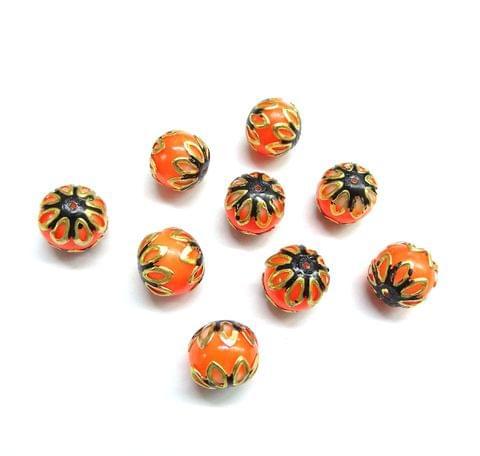 20 pcs, 12mm Orange Black Meenakari High Quality Ball