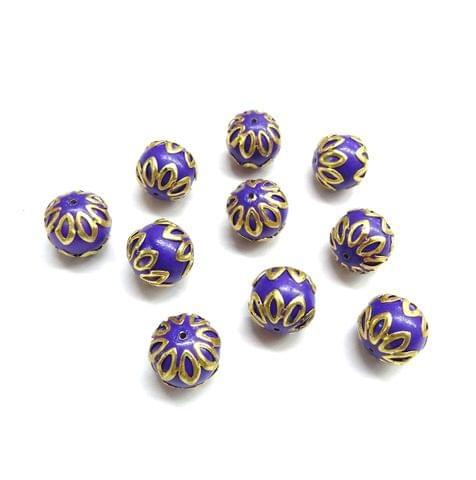 20 pcs, 12mm Purple Meenakari High Quality Ball