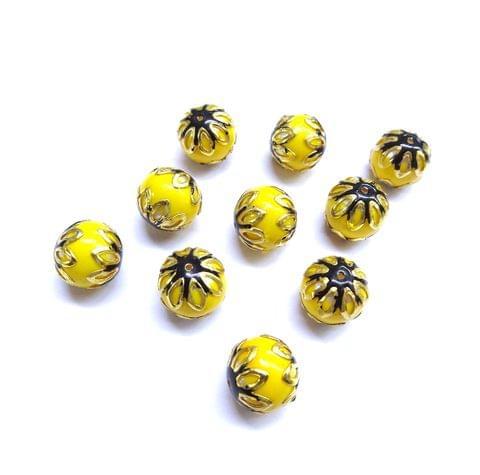 20 pcs, 12mm Yellow Black Meenakari High Quality Ball