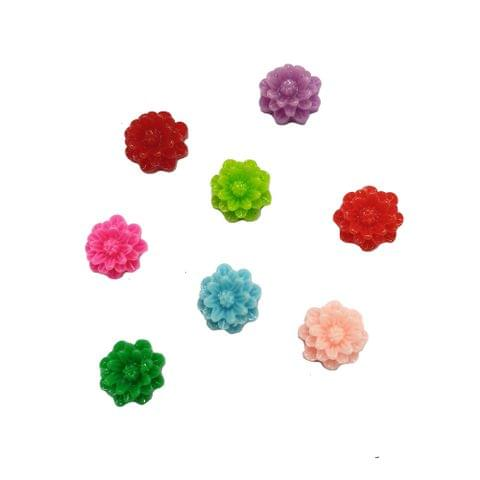 40 pcs, 8 color acrylic flower beads 8 mm with flat base (5each)