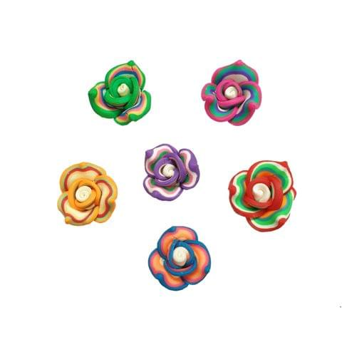 30 pcs, 6 color rubber flower beads 15 mm with full side hole (5each)