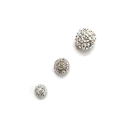 30 pcs, Silver Sugar ball 6mm, 8mm, 10mm with flat base(10 pcs of each size)