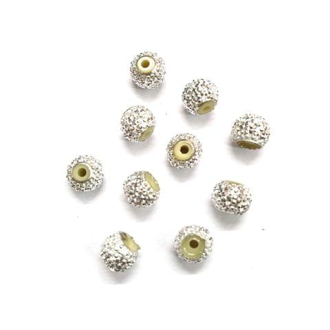 30 pcs, Silver Sugar rondelle shape ball 6mm with full hole