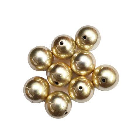30 pcs, acrylic round shape golden beads 16 mm with full hole