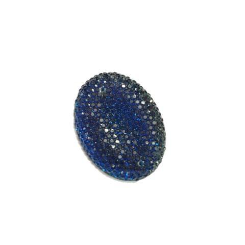 30 pcs, blue oval shape acrylic sugar beads 38 mm with flat base