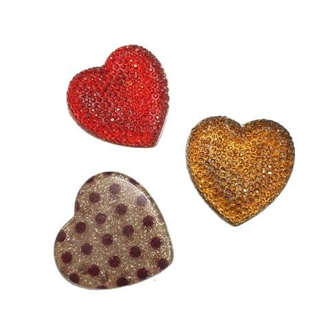 30 pcs, acrylic heart shape sugar and laminated beads 35 mm with flat base (10 pcs each color)