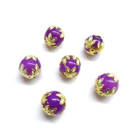 20 pcs, 12mm Designer Purple Round Balls For Jewelry Making