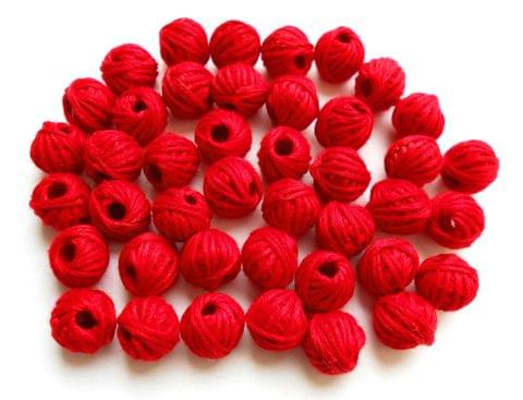 75 pieces of red thread beads