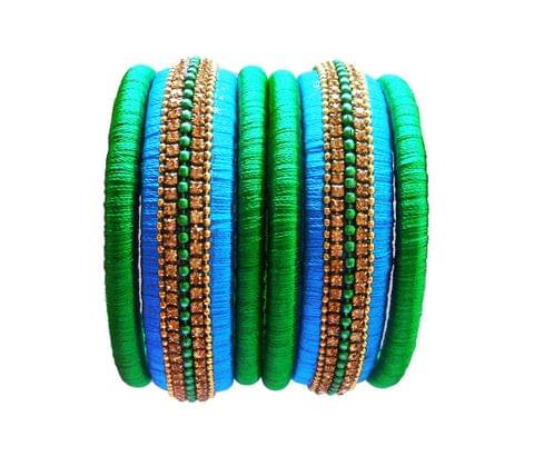 green and blue silk thread bangle set