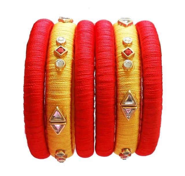 red and yellow silk thread bangle set