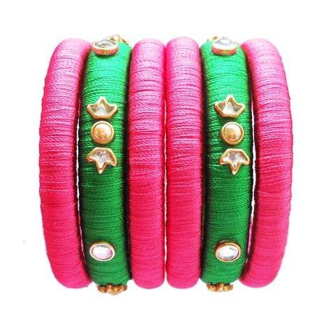 pink and green silk thread bangle set