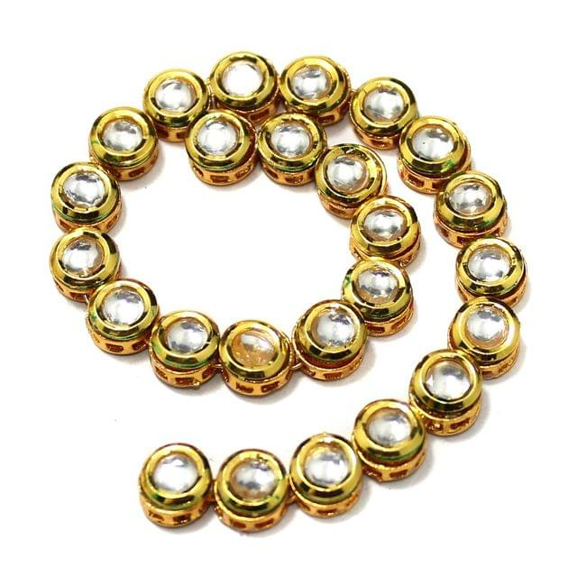 25 Pcs Kundan Kadi Round Shape Golden 8mm