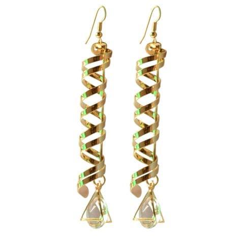 Foppish Mart The Spiral Drama Gold Dangler Earrings For Women