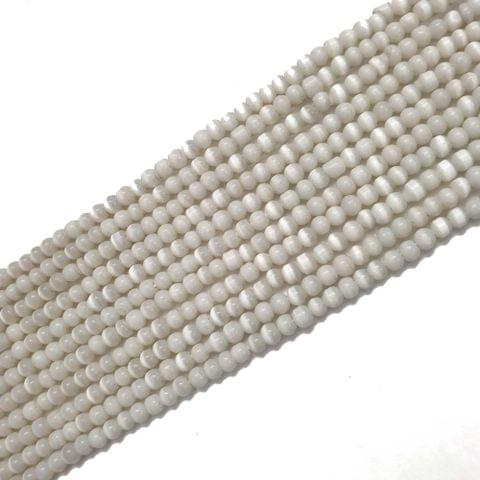 4 Strings, 3mm White Cat's Eye Bead Strings, 14 Inch (90+ Beads in each string)