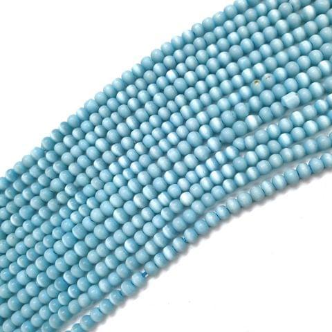 4 Strings, 3mm Sky Blue Cat's Eye Bead Strings, 14 Inch (90+ Beads in each string)
