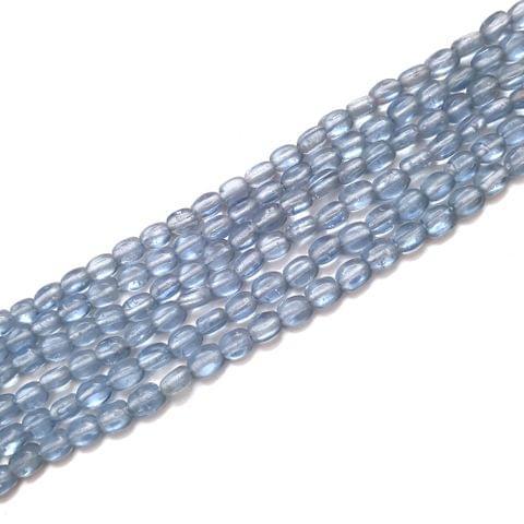 4 Strings, 6x3mm Light Blue Oval Shape Glass Bead Strings, 14 Inch (70+ Beads in each string)