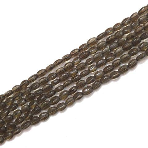 4 Strings, 6x3mm Brown Oval Shape Glass Bead Strings, 14 Inch (70+ Beads in each string)