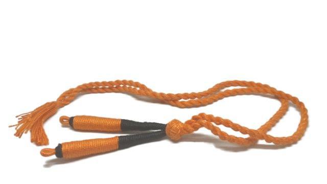Handmade Jewellery Making Cotton Dori Adjustable Back Rope 1cm 17inch (Pack of 5 Pieces) [Color 8-> Orange & Black]