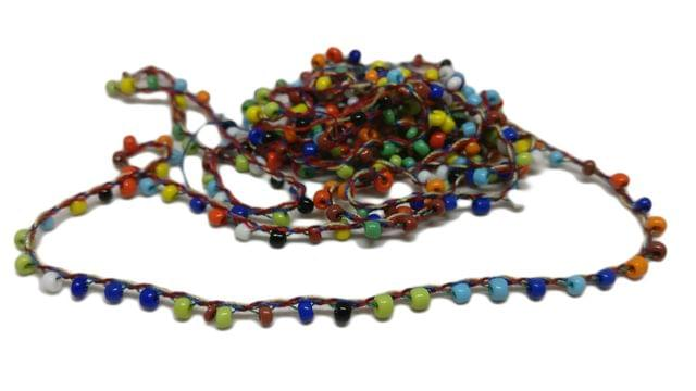 Glass Seed Beaded Chain Cords for Jewellery Craft Decoration 3mm Round Mixed Color (Sold as 10 metres)