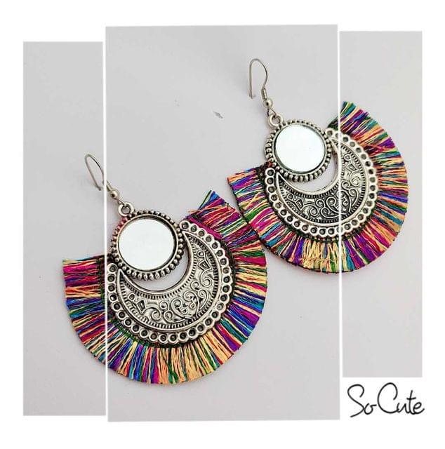 Oxidised Multi Colurerd Thread Silver Afghani Earrings