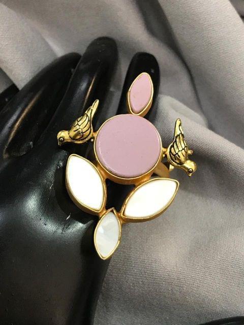 Cocktail Pink  Ring Stone Free Size Women Designer