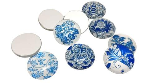 Glass Patches Embellishments Cabochons Flower Design 25x6mm Round Blue/Dark Blue/Black (Pack of 12 pieces)