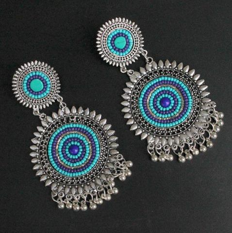 Turquoise German Silver Afghani Earrings
