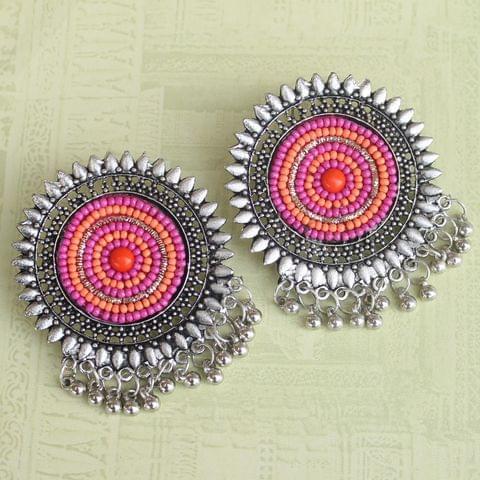 Pink German Silver Afghani Earrings