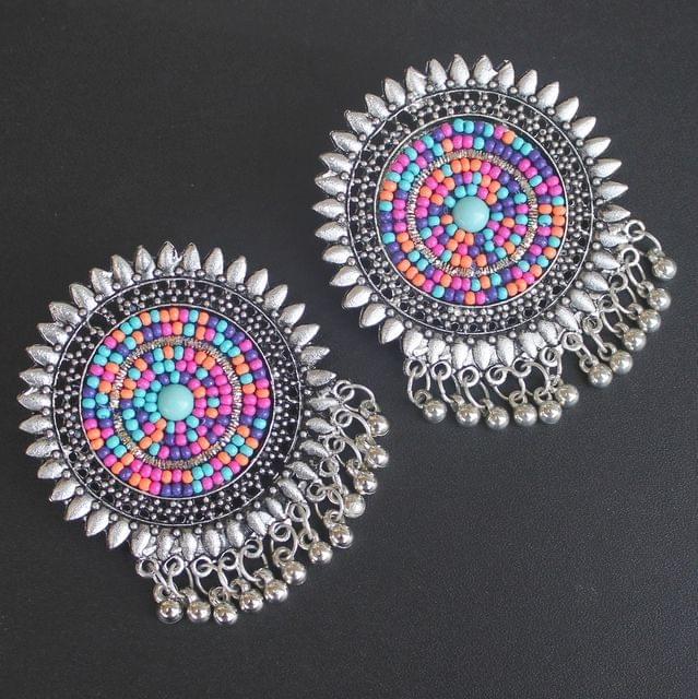 Multicolor German Silver Afghani Earrings