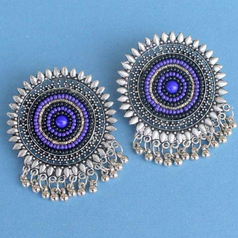 Purple German Silver Afghani Earrings