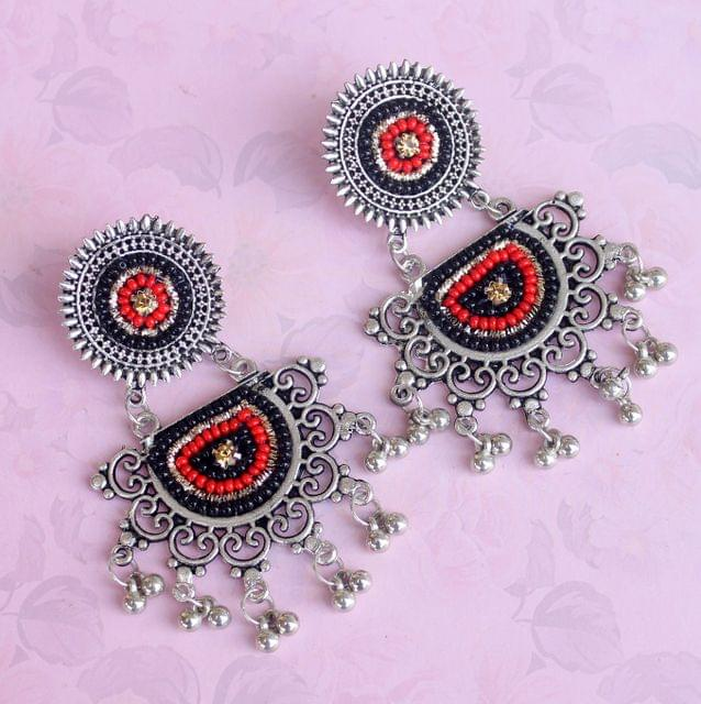 Black German Silver Afghani Earrings