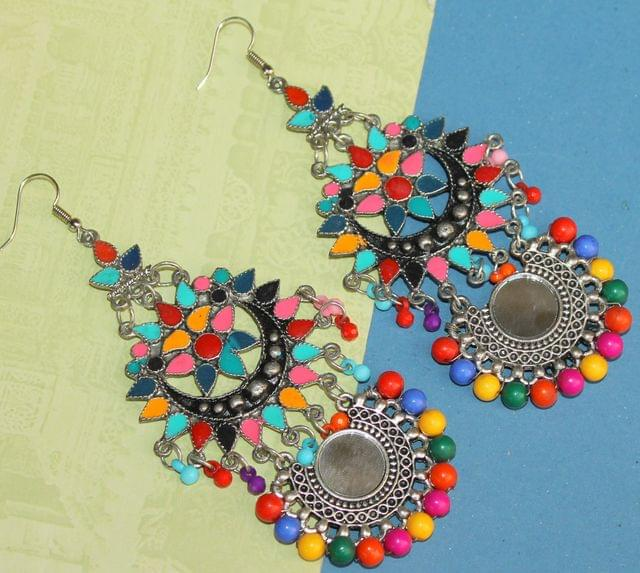 Multicolor Afghani Mirror Earrings