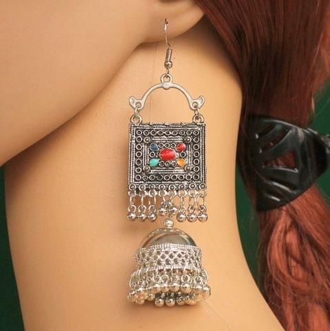 German Silver Jhumki Earrings