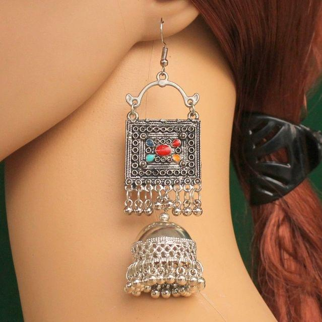 German Silver Jhumki Earrings