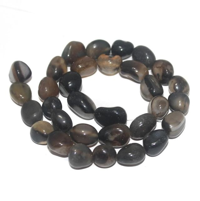 Black Tumbled  Onyx Stone Beads 13-10 mm
