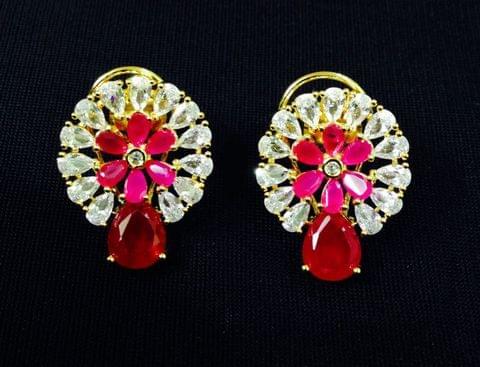 Pink  Earrings Designer Gold Tone Kundan Jhumki Jhumka Indian Jewelry